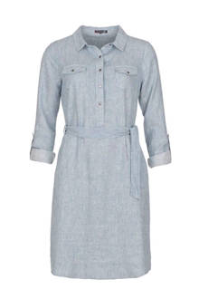 gestreepte blousejurk met linnen grijsblauw