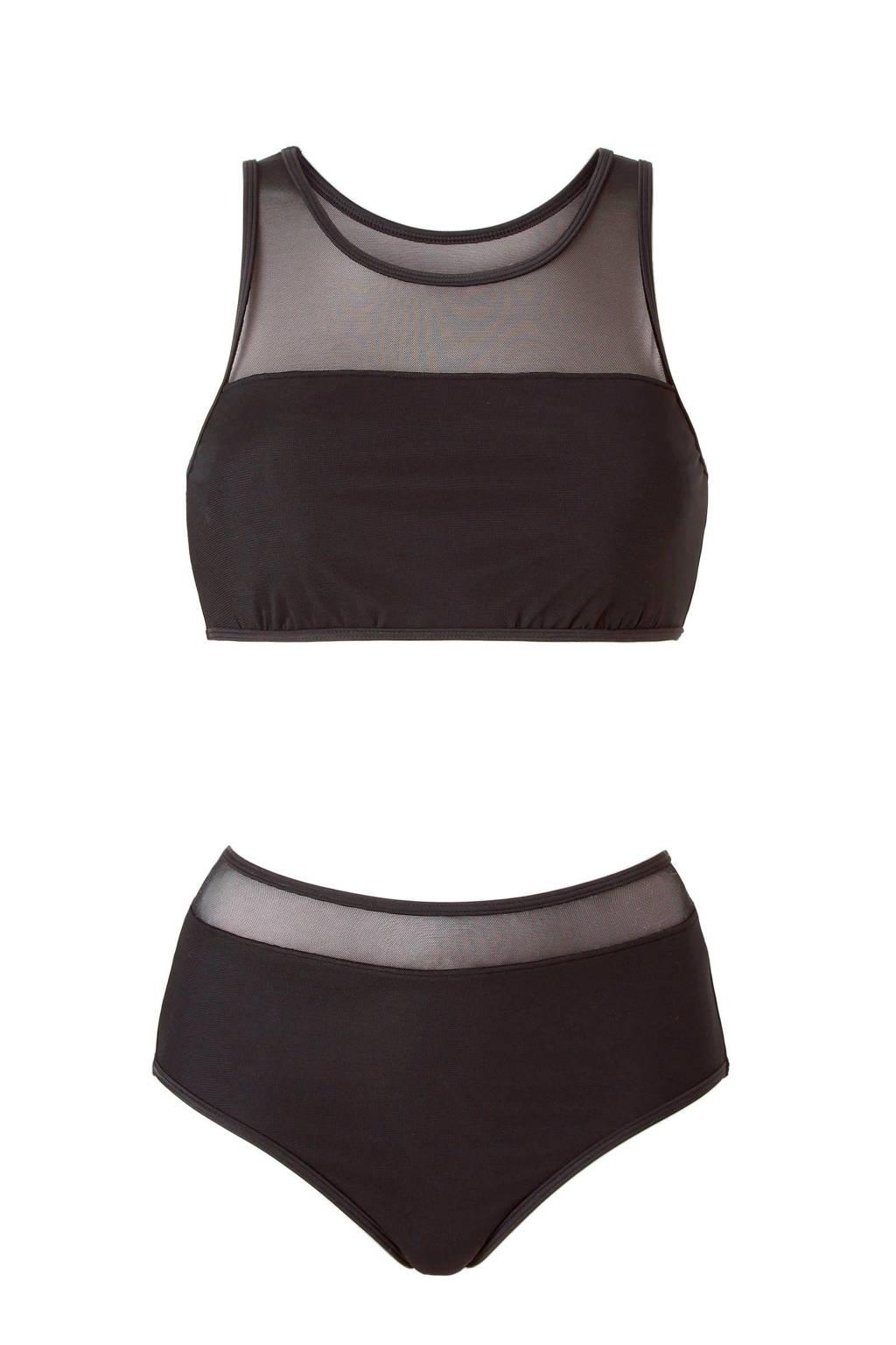 whkmp's beachwave crop bikini met mesh zwart, Zwart