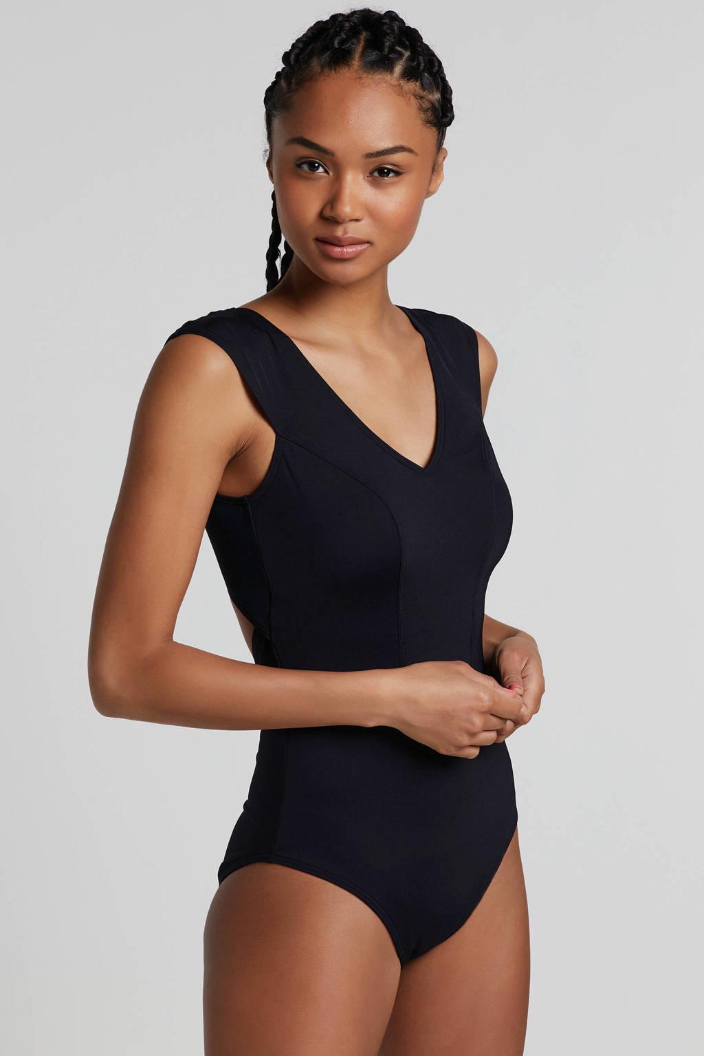 whkmp's beachwave corrigerende badpak met vaste cups zwart, Zwart