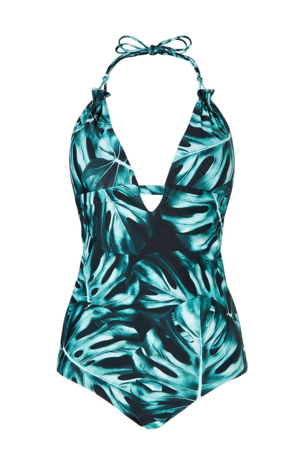 whkmp's beachwave badpak gevoerd in all over print groen, Groen/zwart