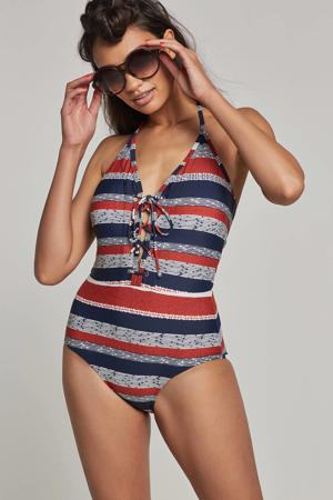 corrigerend halter badpak in all over print rood