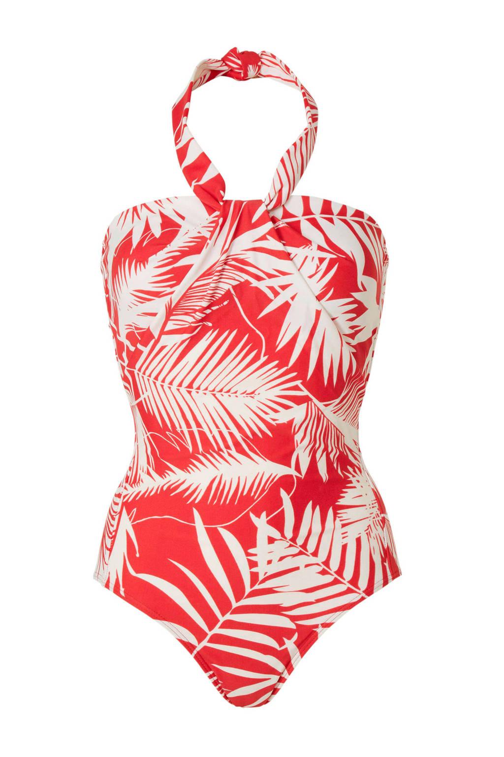 whkmp's beachwave corrigerende badpak met all over print rood, Rood/wit