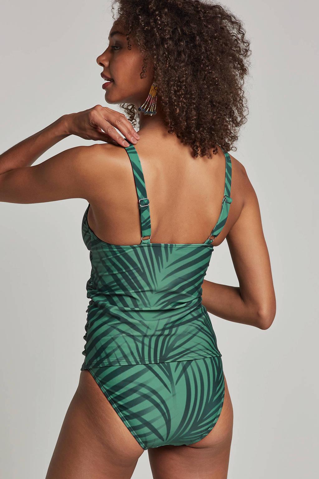 whkmp's beachwave corrigerende tankini bikinitop in all over print groen, Groen
