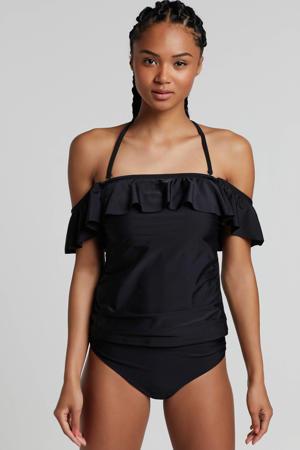 corrigerende tankini bikinitop met plooien zwart