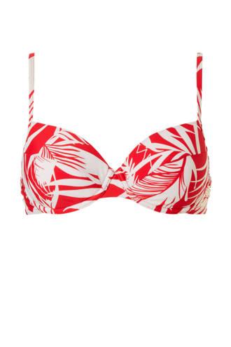 beugel bikinitop met all over print rood
