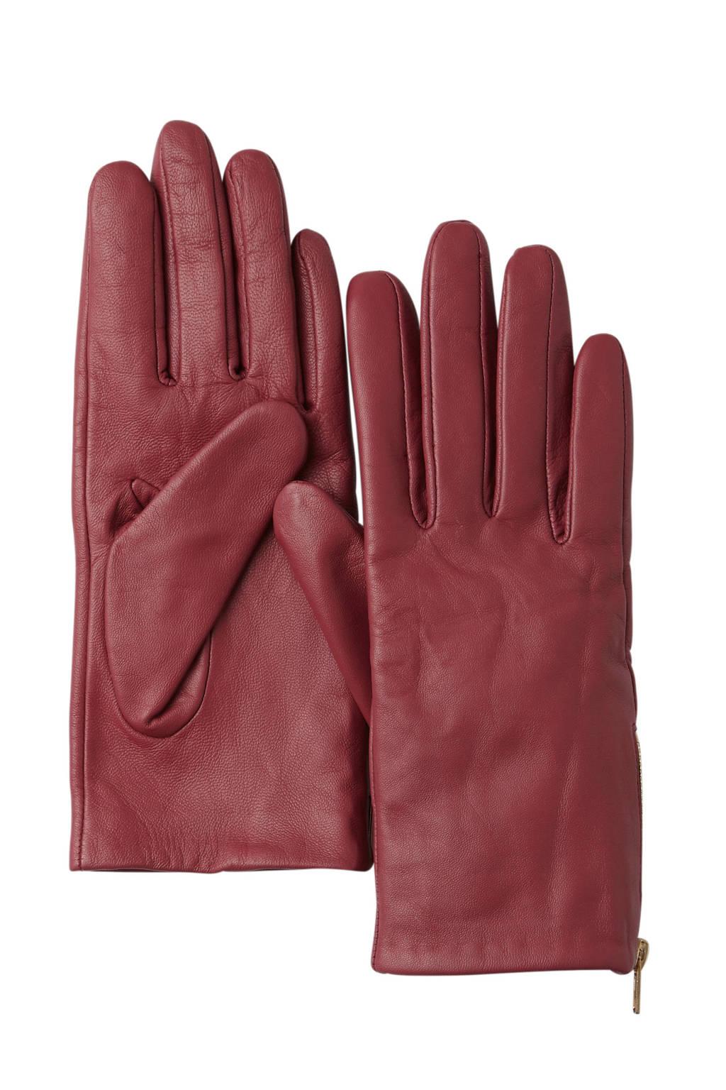 SELECTED FEMME leren handschoenen, Rood/goud