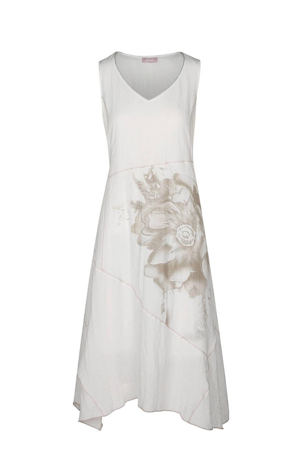 Cassis jurk met bloem opdruk ecru, Ecru/beige