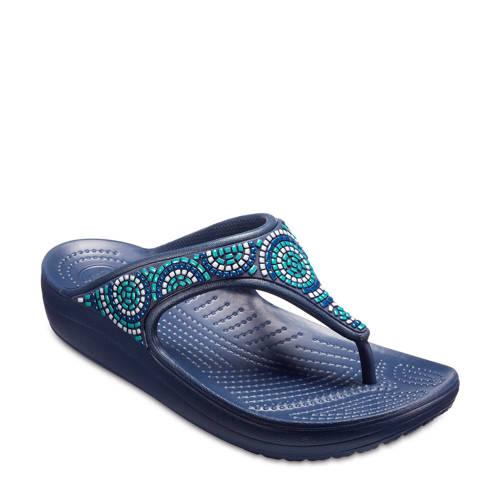 Crocs Flip Flops Navy-Turquoise Crocs Sloane Beaded s