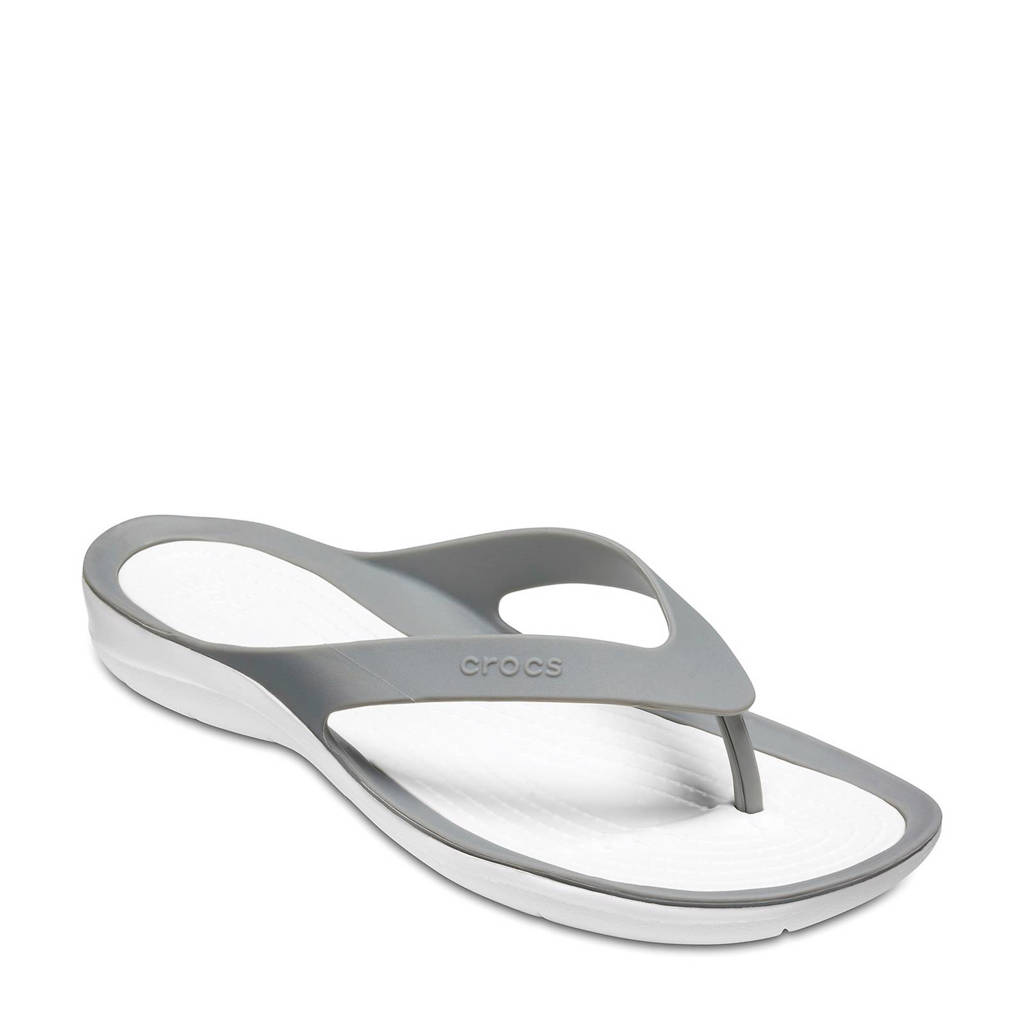 Crocs   Swiftwater teenslippers grijs, Grijs/wit