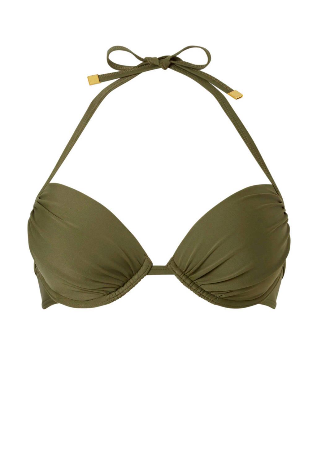 whkmp's beachwave halter bikinitop met uitneembare push up vulling groen, Groen