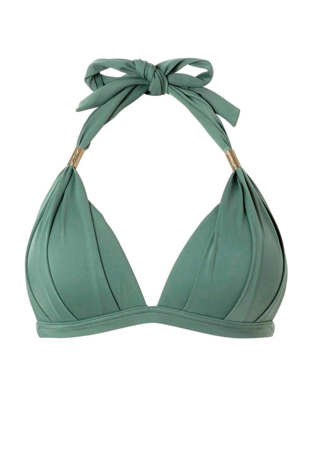 whkmp's beachwave halter bikinitop met plooien groen, Groen