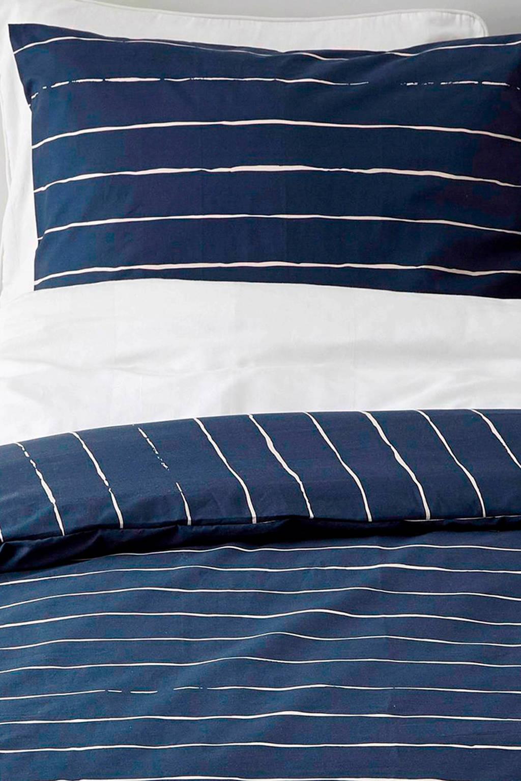whkmp's own katoenen dekbedovertrek 1 persoons, Donkerblauw/wit, 1 persoons (140 cm breed)