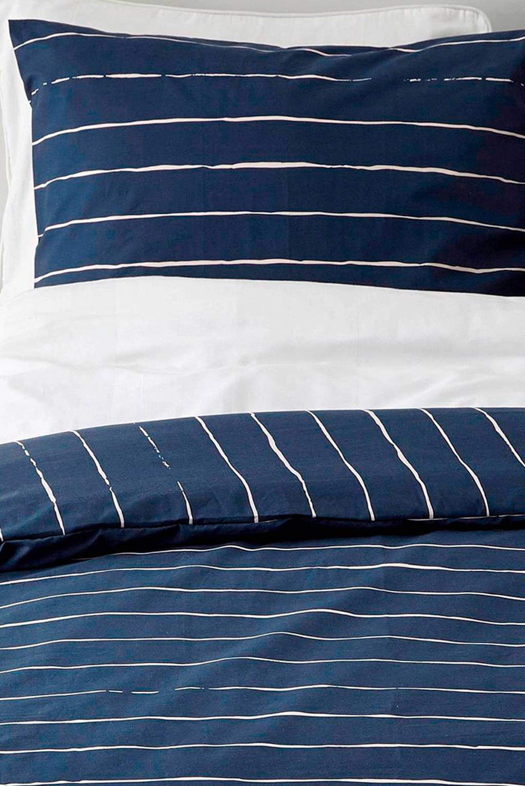 whkmp's own katoenen dekbedovertrek 2 persoons, Donkerblauw/wit, 2 persoons (200 cm breed)
