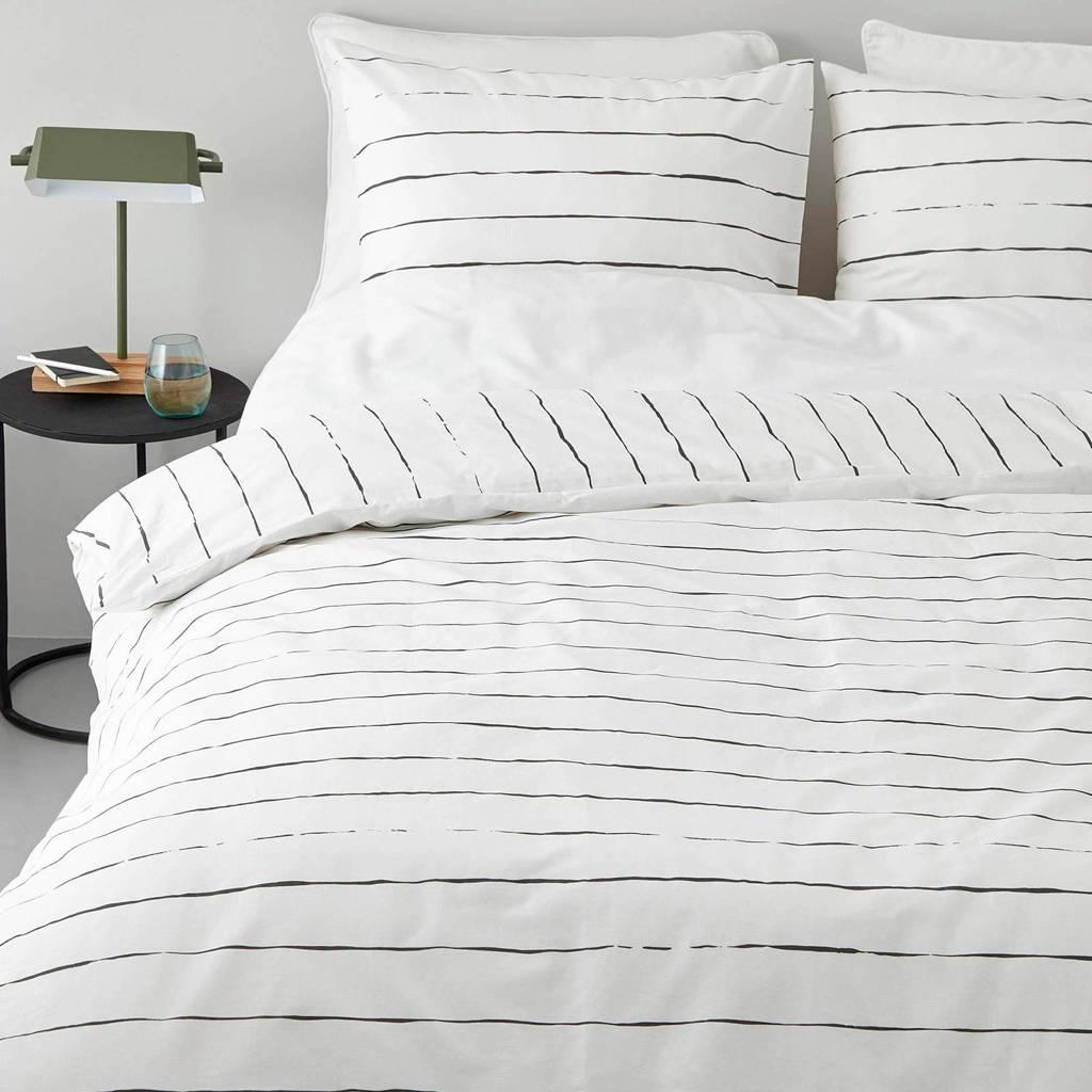 whkmp's own katoenen dekbedovertrek lits. jum., Wit/zwart, Lits-jumeaux (240 cm breed)