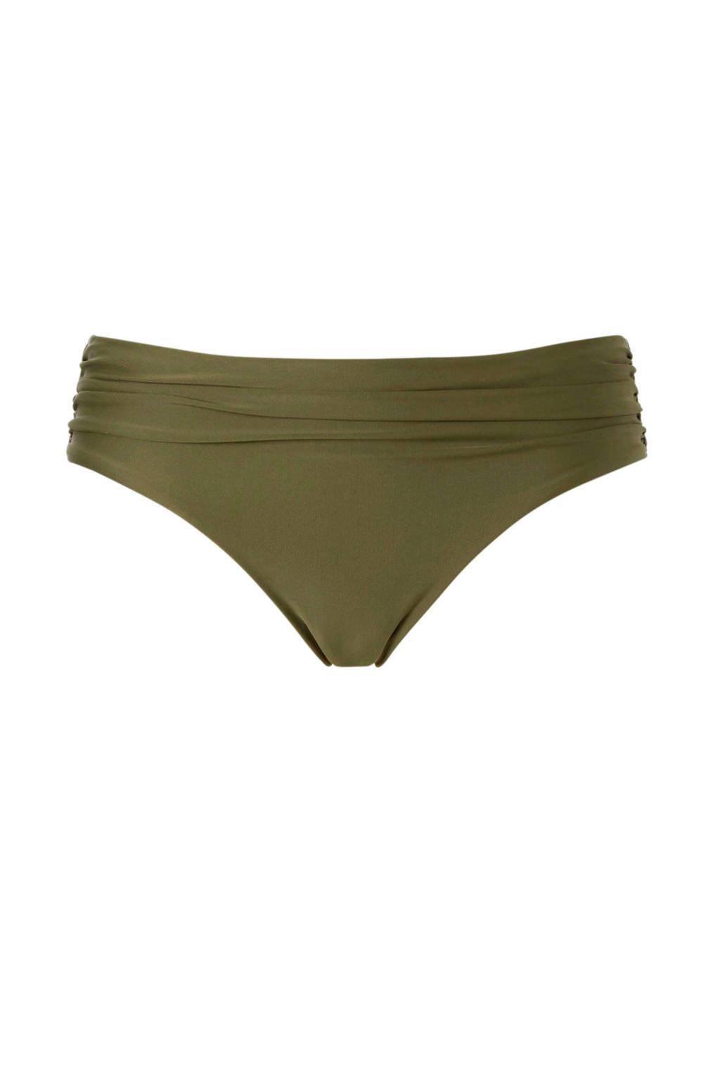 whkmp's beachwave bikinibroekje met plooien groen, Olijfgroen