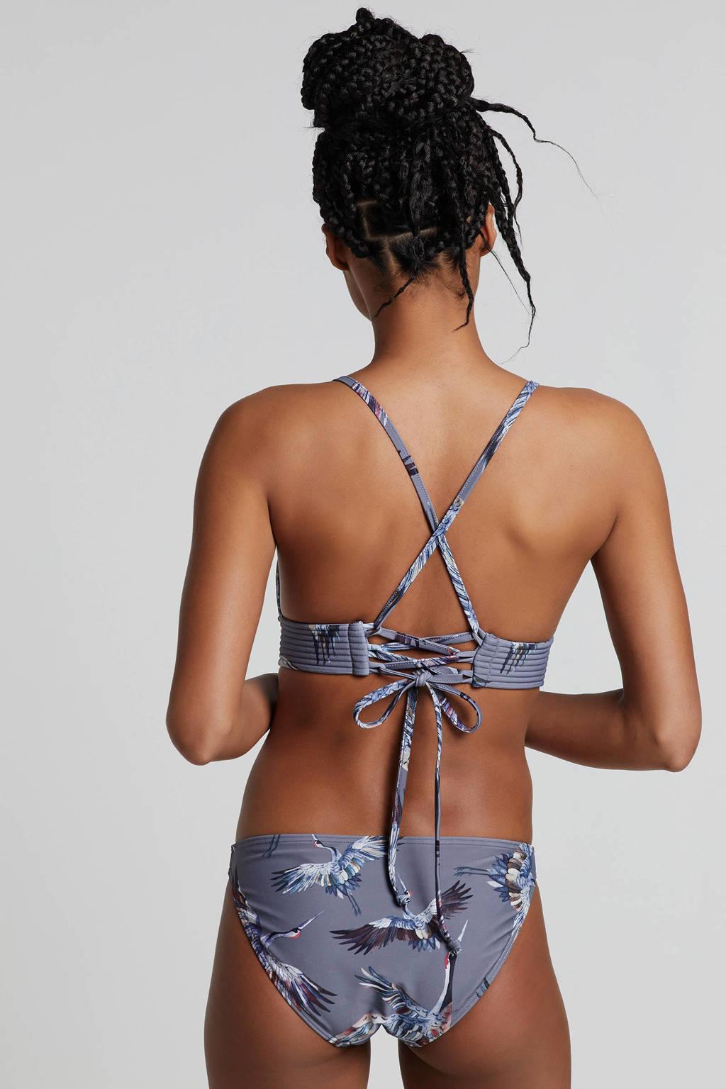 whkmp's beachwave bikinibroekje in all over print grijs, grijs/wit/bruin