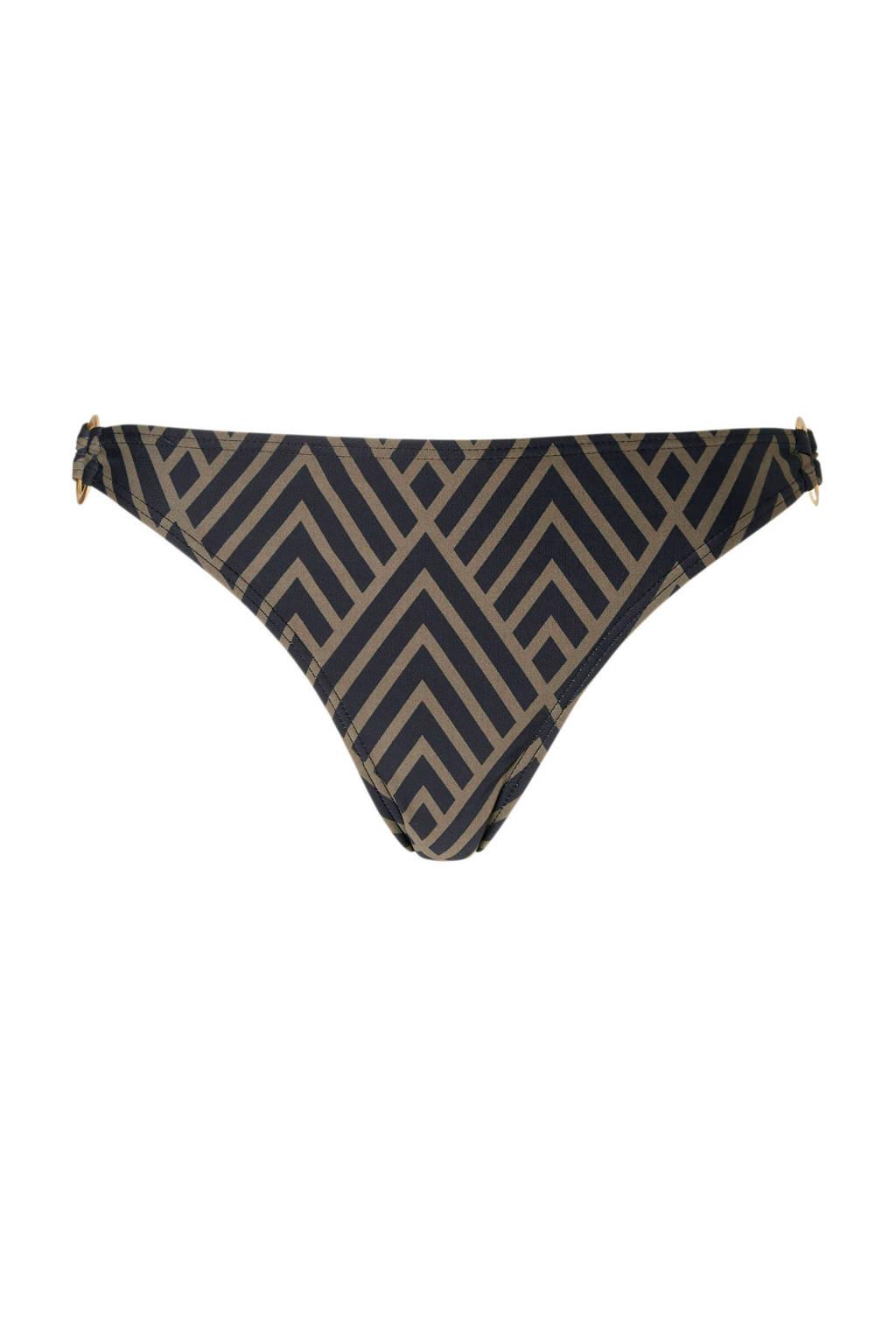 whkmp's beachwave Mix & Match bikinibroekje gevoerd in all over print zwart, Zwart/taupe