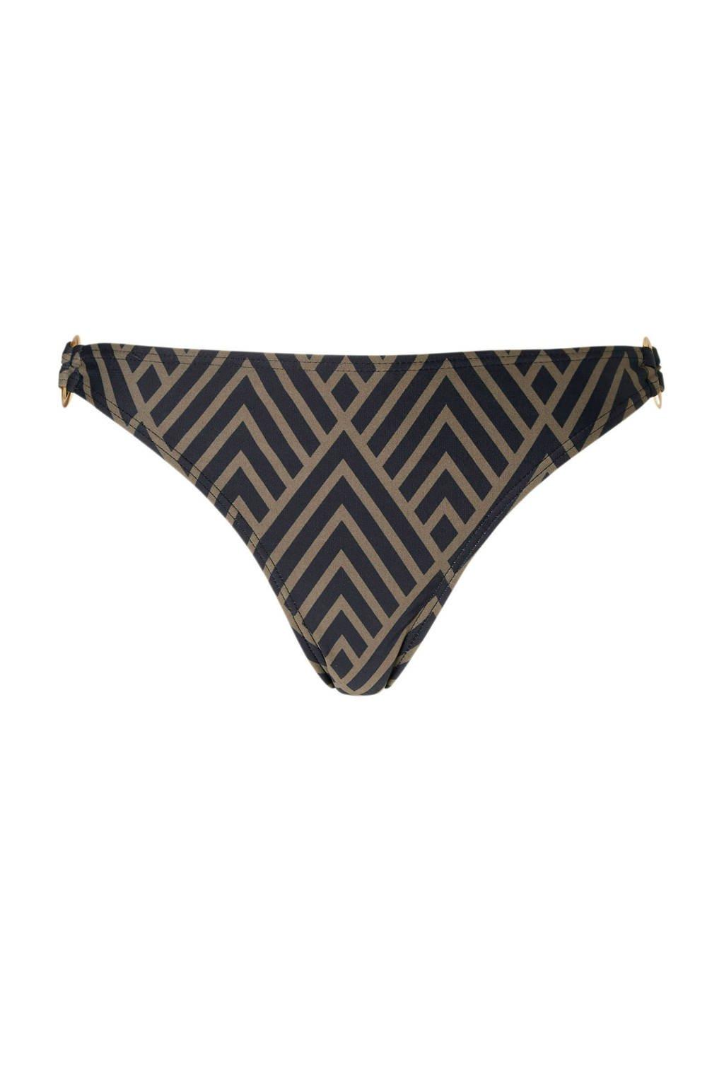 whkmp's beachwave bikinibroekje in all over print zwart, Zwart/taupe