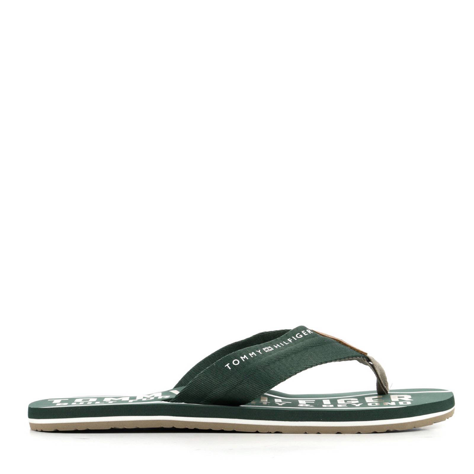 a696a61185ab46 Tommy Hilfiger Smart TH Beach Sandal teenslippers groen | wehkamp