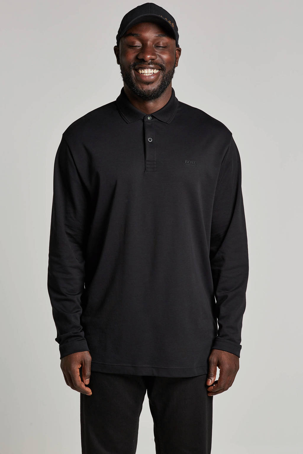 Boss Athleisure Big & Tall Pirol polo, Zwart