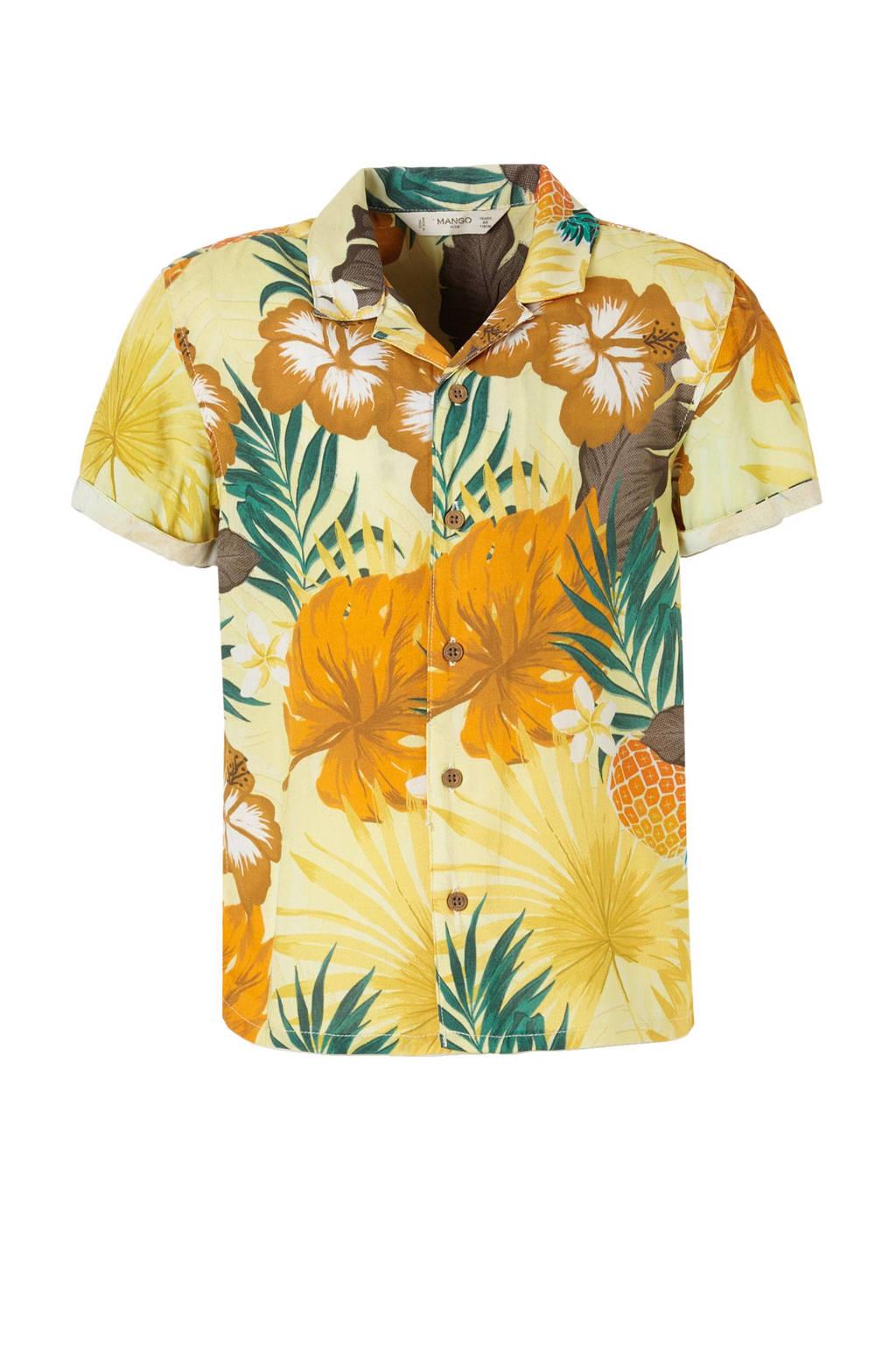 a7ce5602aae7f5 Mango Kids overhemd met Hawaii print geel   wehkamp