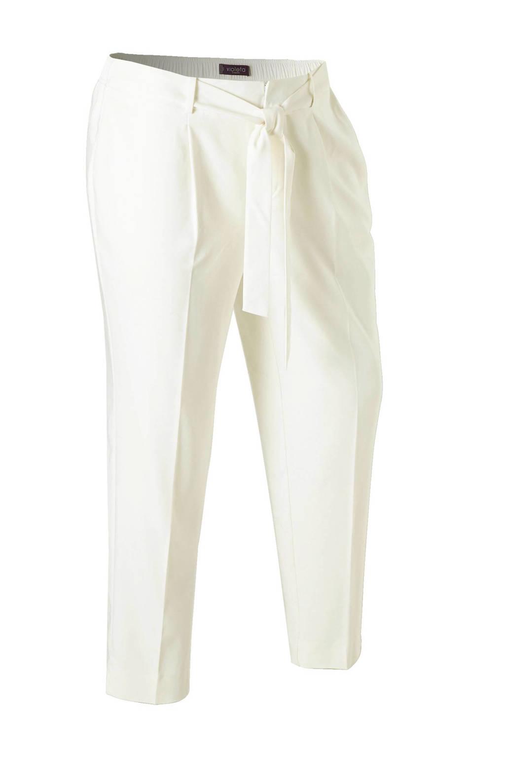 Violeta by Mango straight fit high waisted pantalon, naturel wit