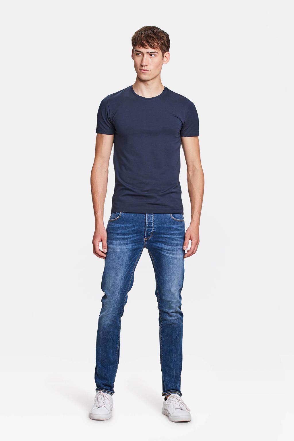 WE Fashion basic slim fit  T-shirt met biologisch katoen marineblauw, Marineblauw