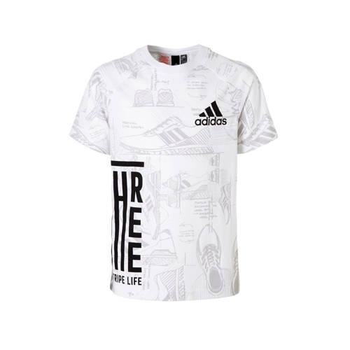sport T-shirt met all-over print wit