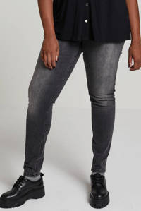 whkmp's own super comfort skinny high waist denim, Zwart/grijs