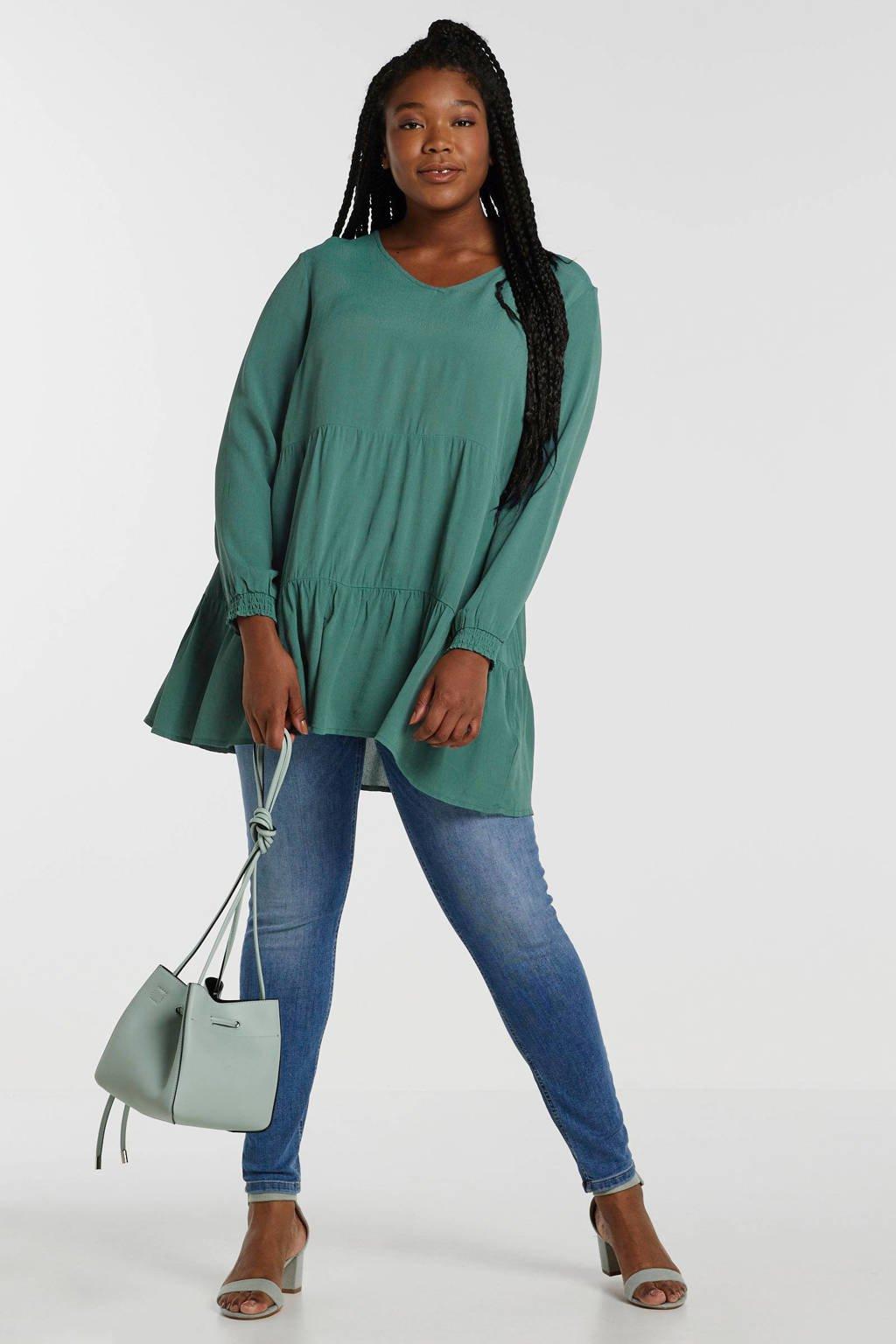 whkmp's own super comfort skinny high waist denim, Stonewashed blauw