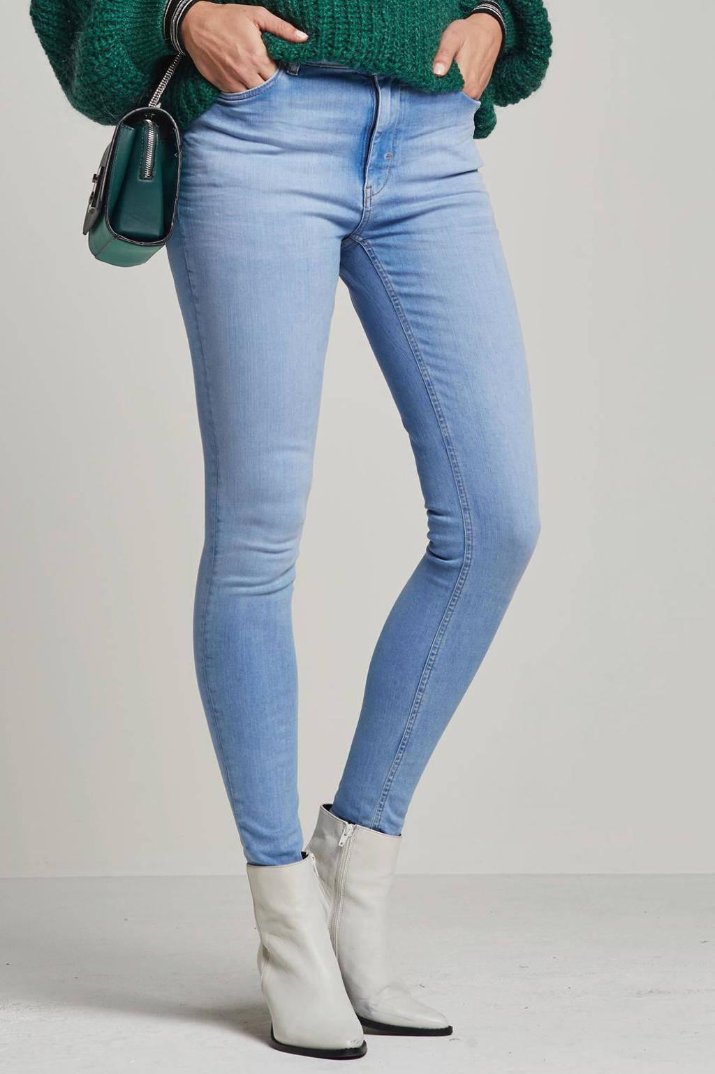 wehkamp super comfort skinny high waist denim, Bleached lichtblauw