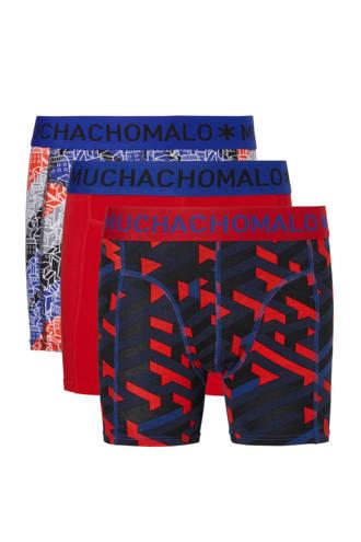 Junior  boxershort - set van 3 rood/blauw