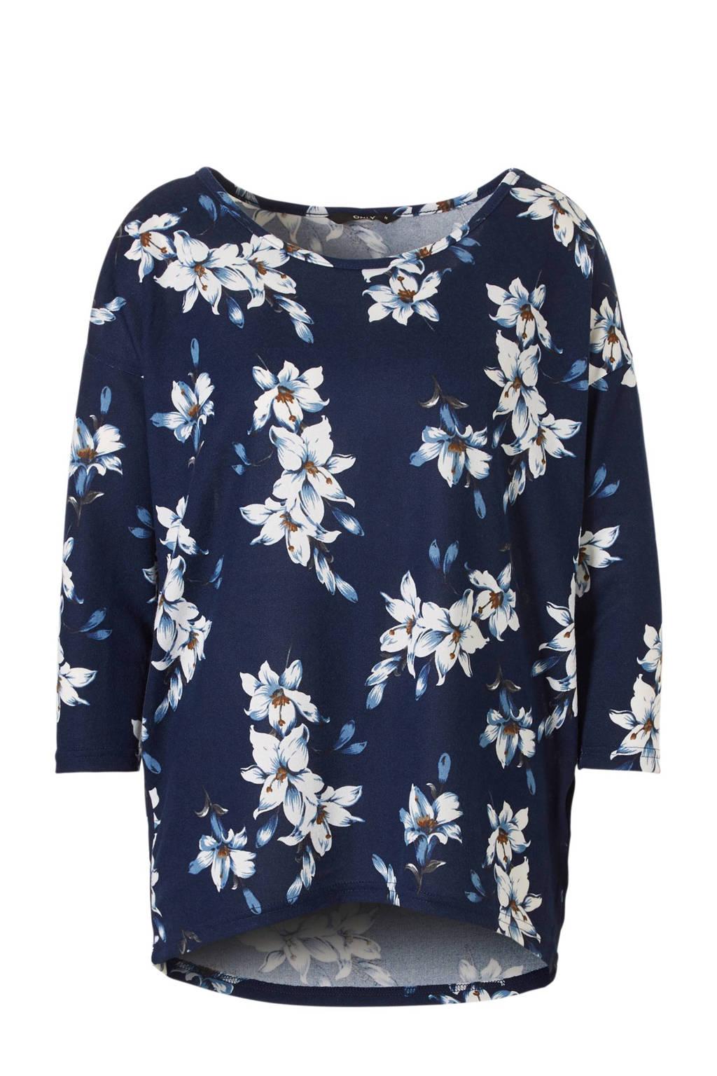 ONLY bloemen top, Blauw/wit