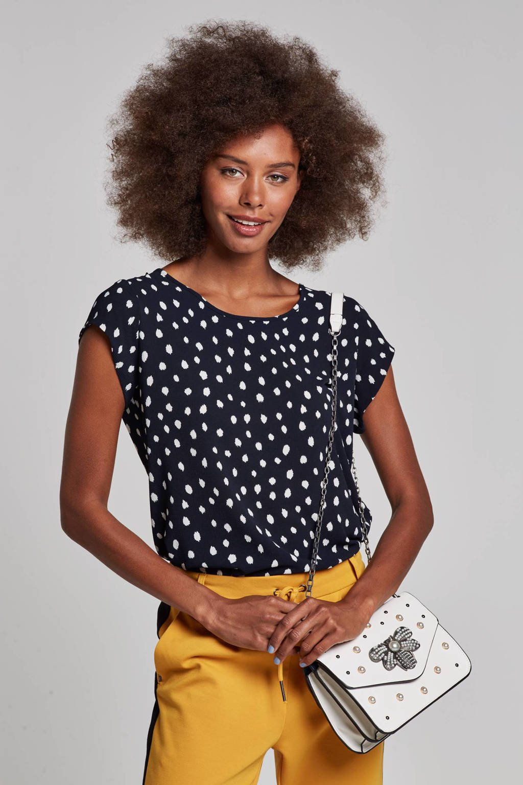 ONLY top met all over print, Donkerblauw/wit
