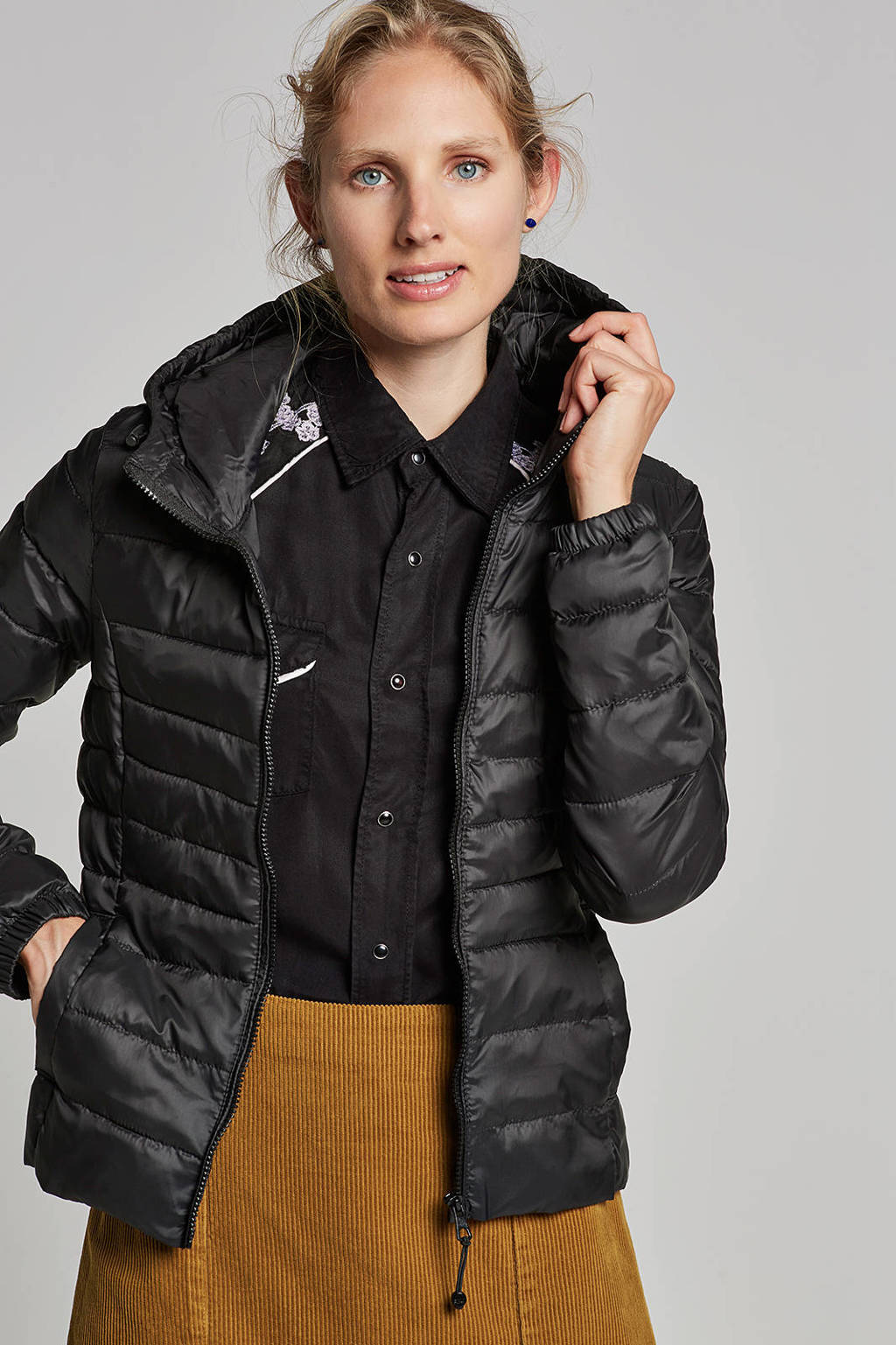 ONLY gewatteerde jas, Zwart