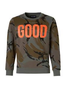 sweater Comfrey met camouflageprint kaki