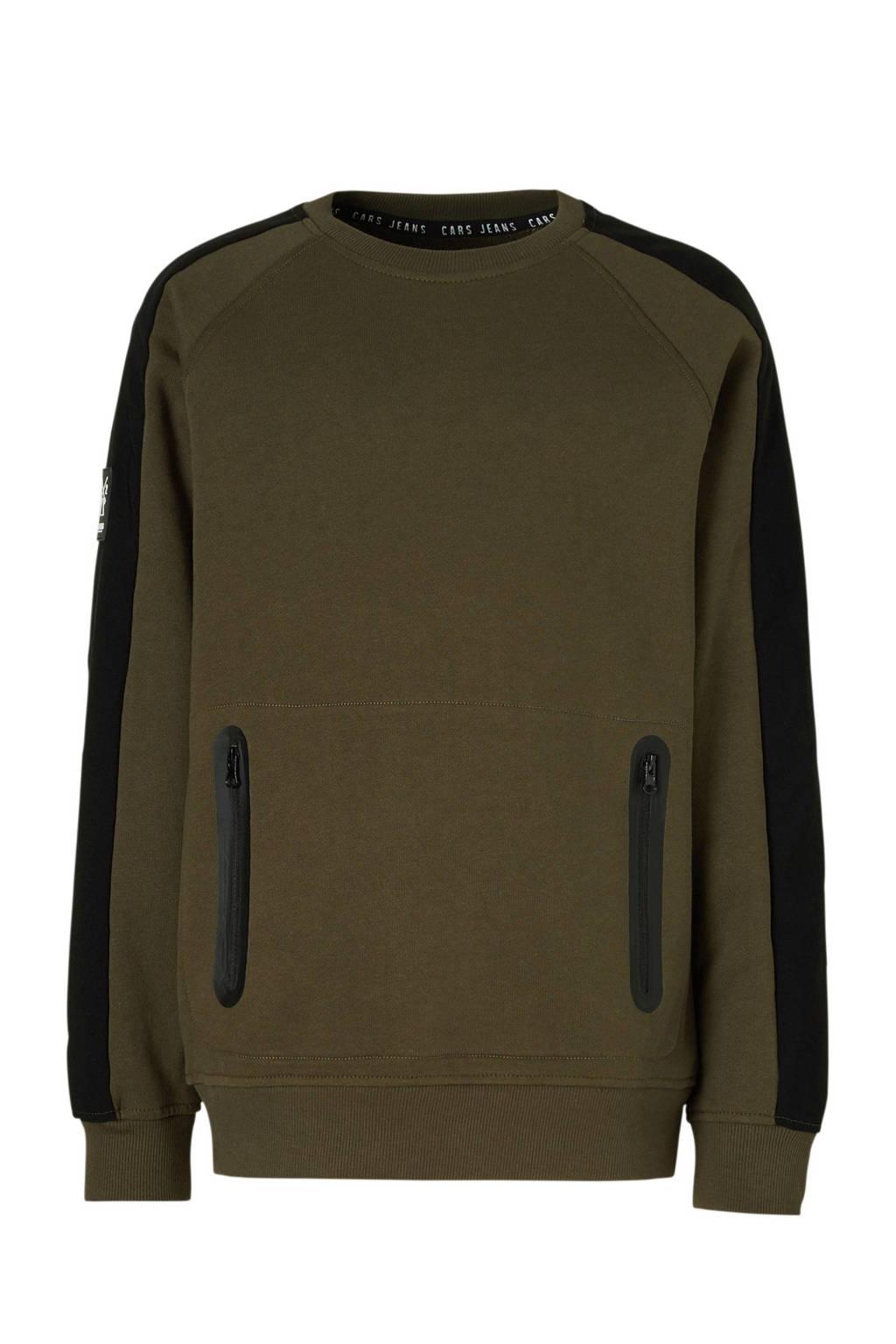 Cars sweater McKenzie met zijstreep kaki, Kaki/zwart