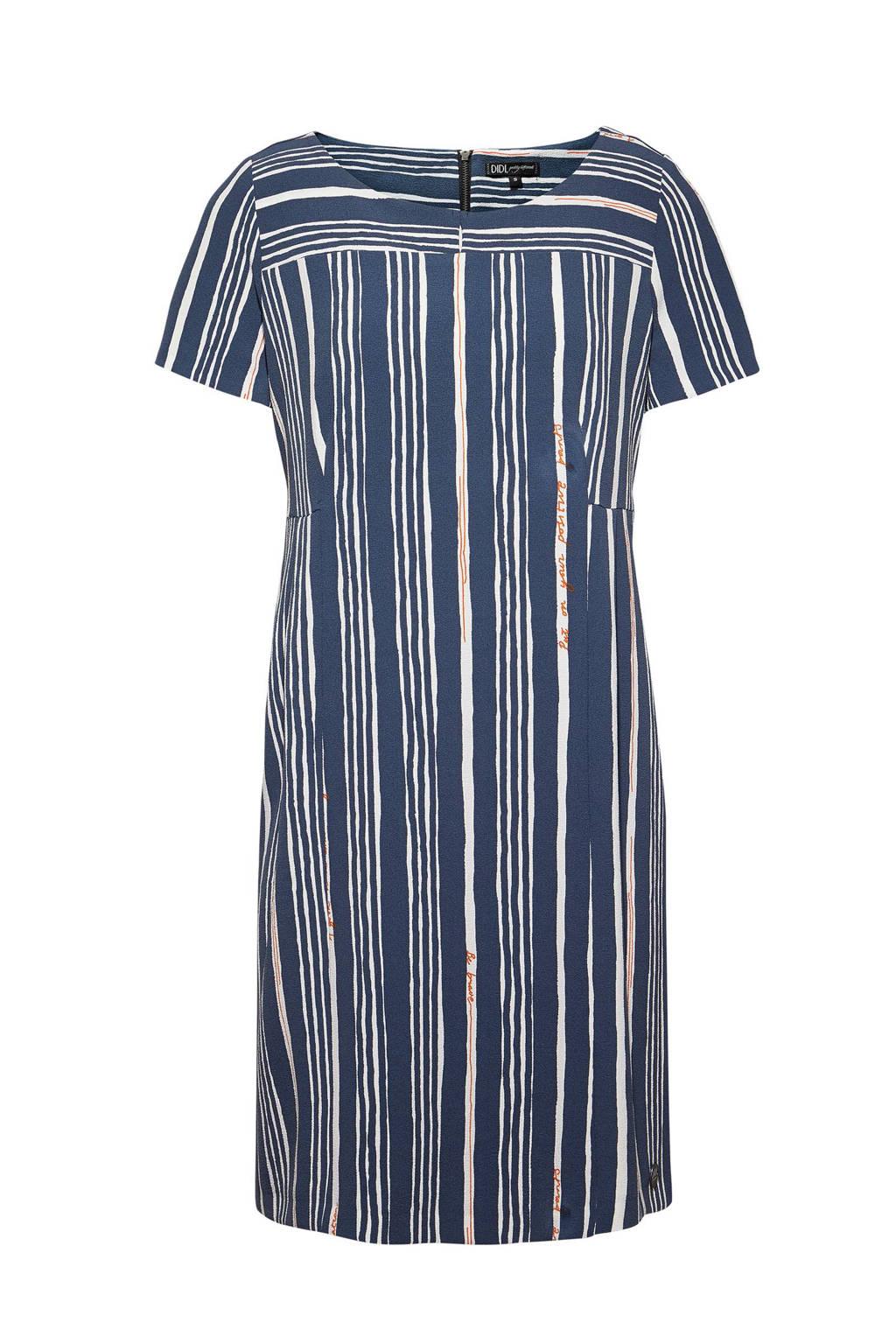 Didi gestreepte jurk donkerblauw, Donkerblauw/wit