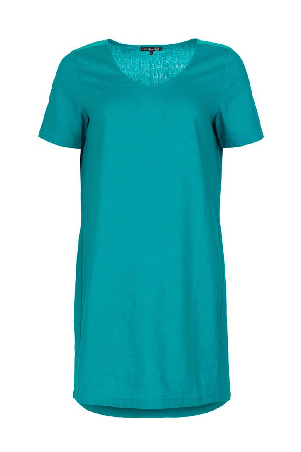 La Ligna jurk met linnen turquoise, Turquoise