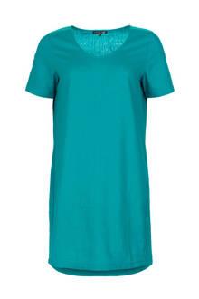 jurk met linnen turquoise