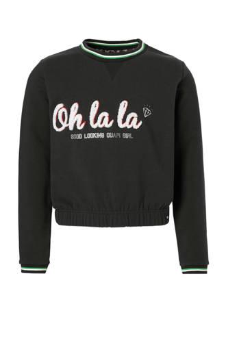 sweater Lies met tekst antraciet