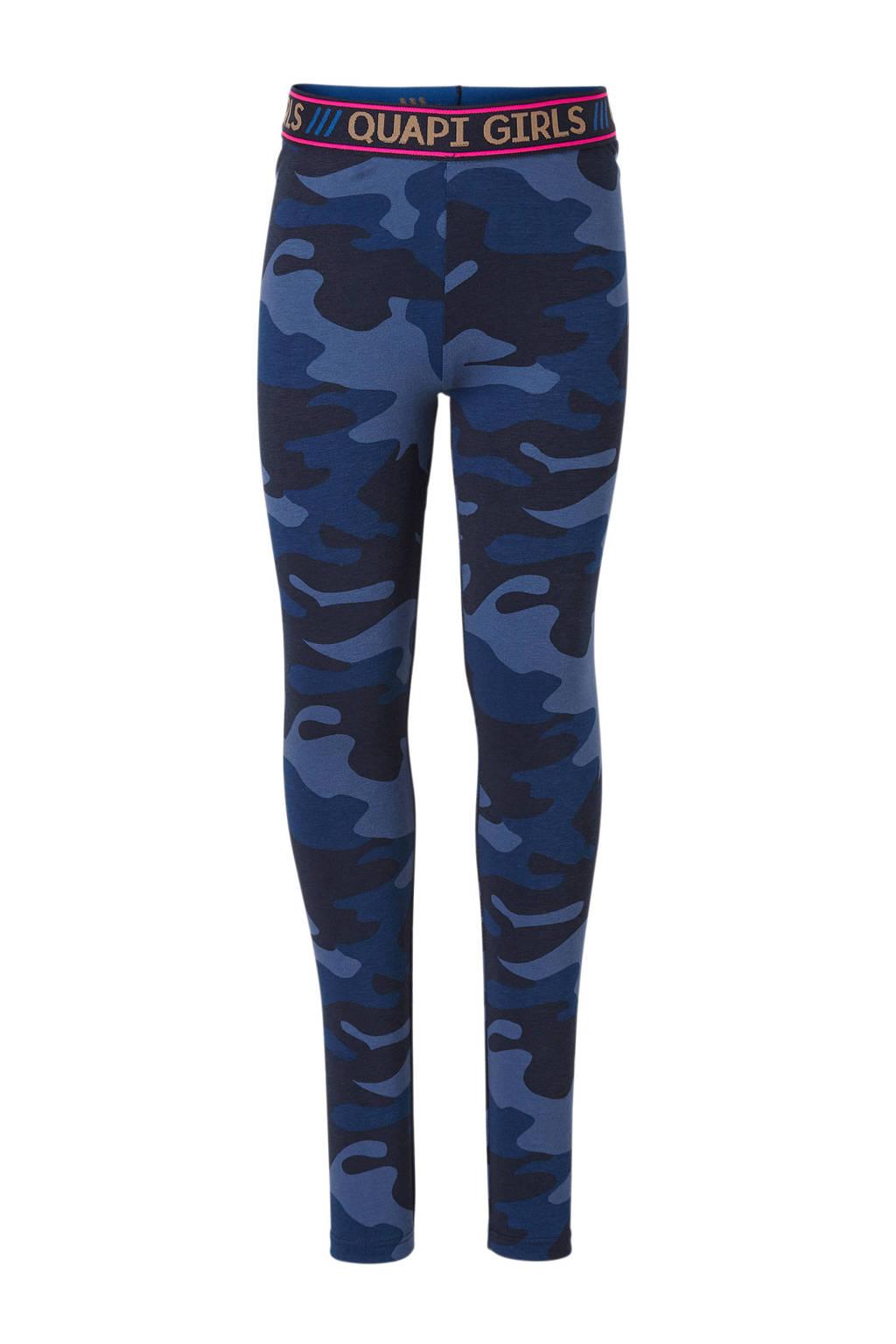 Quapi legging Lavinia 3 met camouflageprint, Donkerblauw