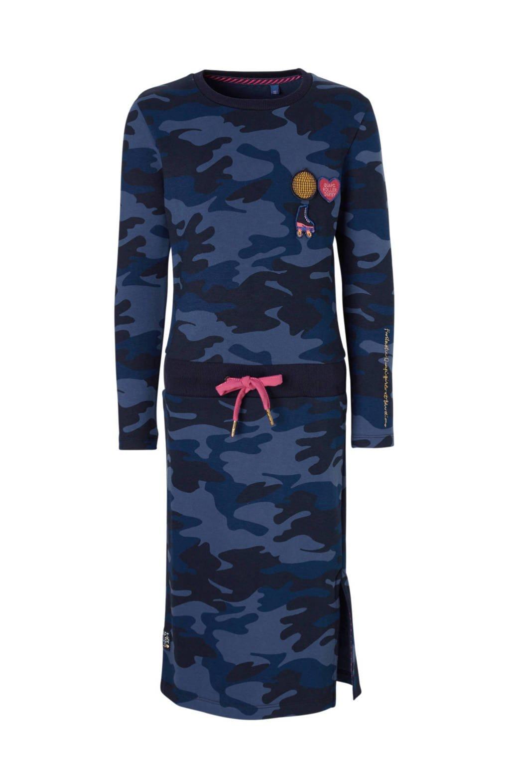Quapi jurk Lizet met camouflageprint blauw, Blauw/zwart