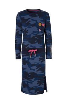 jurk Lizet met camouflageprint blauw