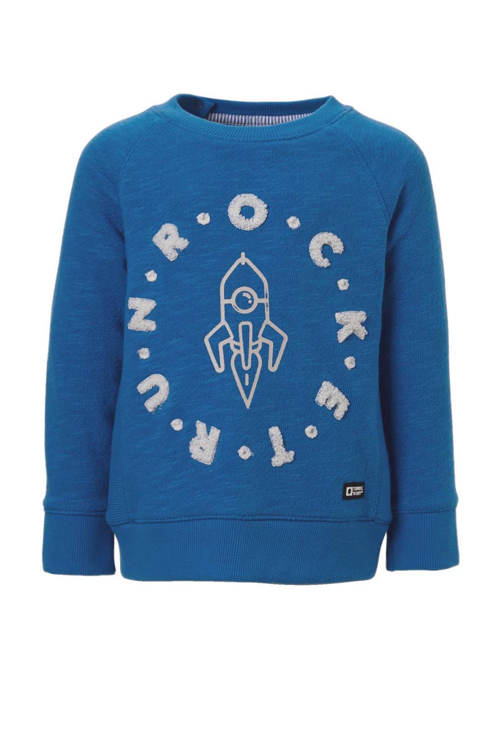 Tumble 'n Dry Lo sweater Kingsley blauw, Blauw/wit