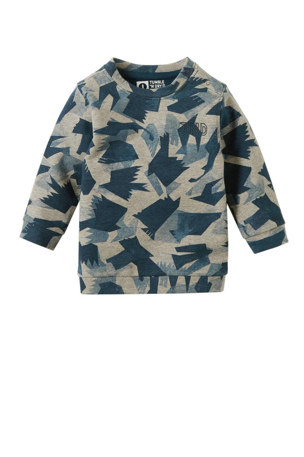 Tumble 'n Dry Zero baby sweater Jivan all over print grijs, Grijs/petrol