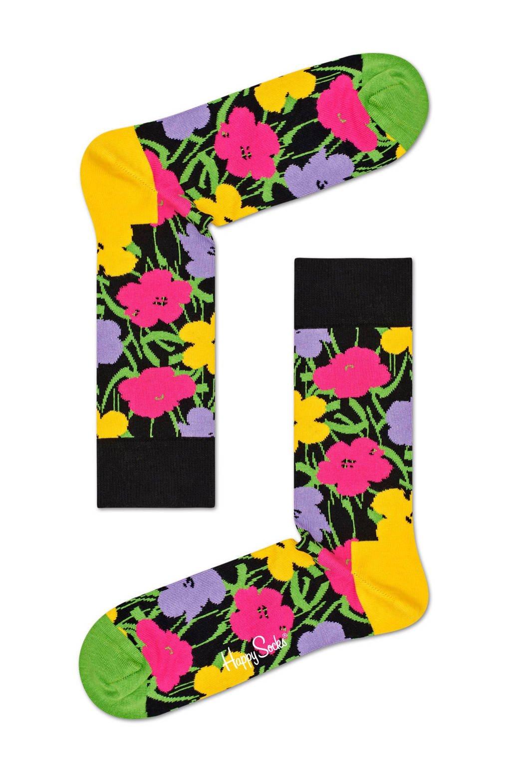 Happy Socks sokken Andy Warhol Flower, Zwart/groen/geel/roze