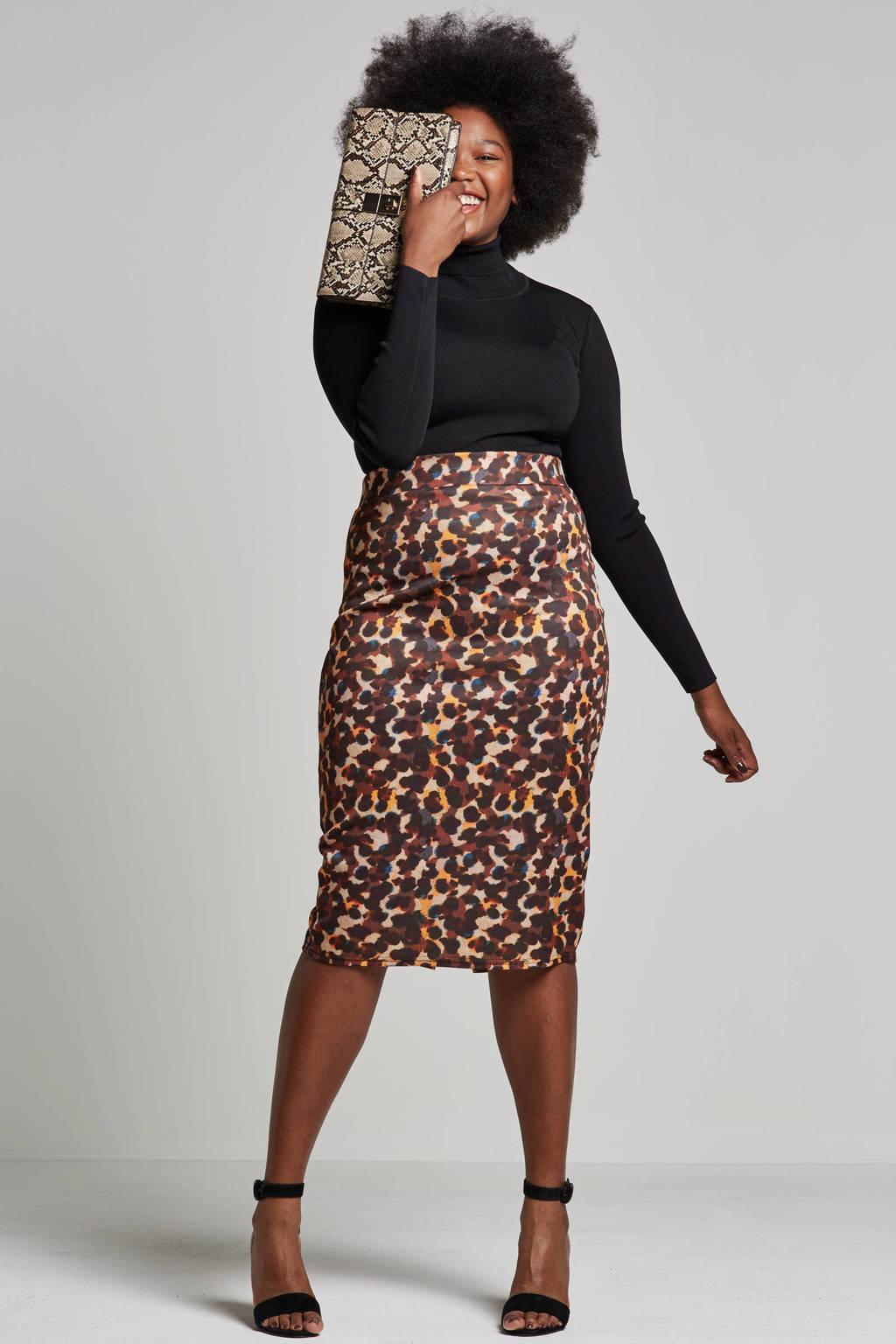Lost Ink Plus aansluitende rok met leopard print, Bruin/beige/zwart