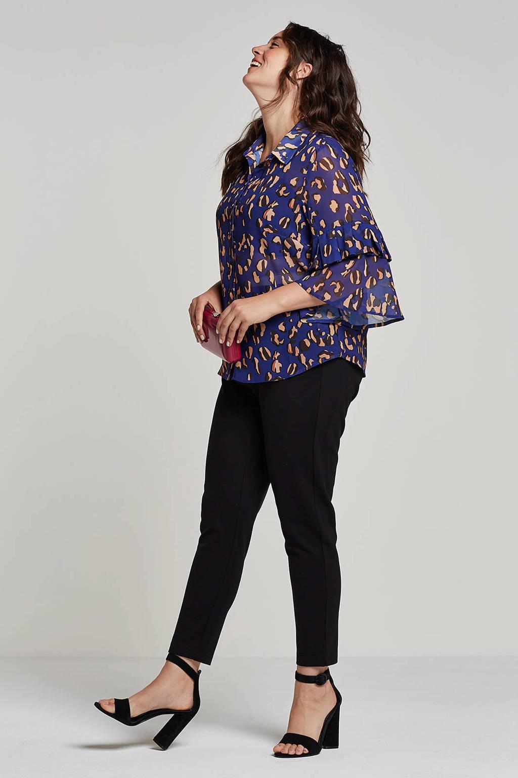 Lost Ink Plus semi-transparante blouse met panterprint, Blauw/bruin