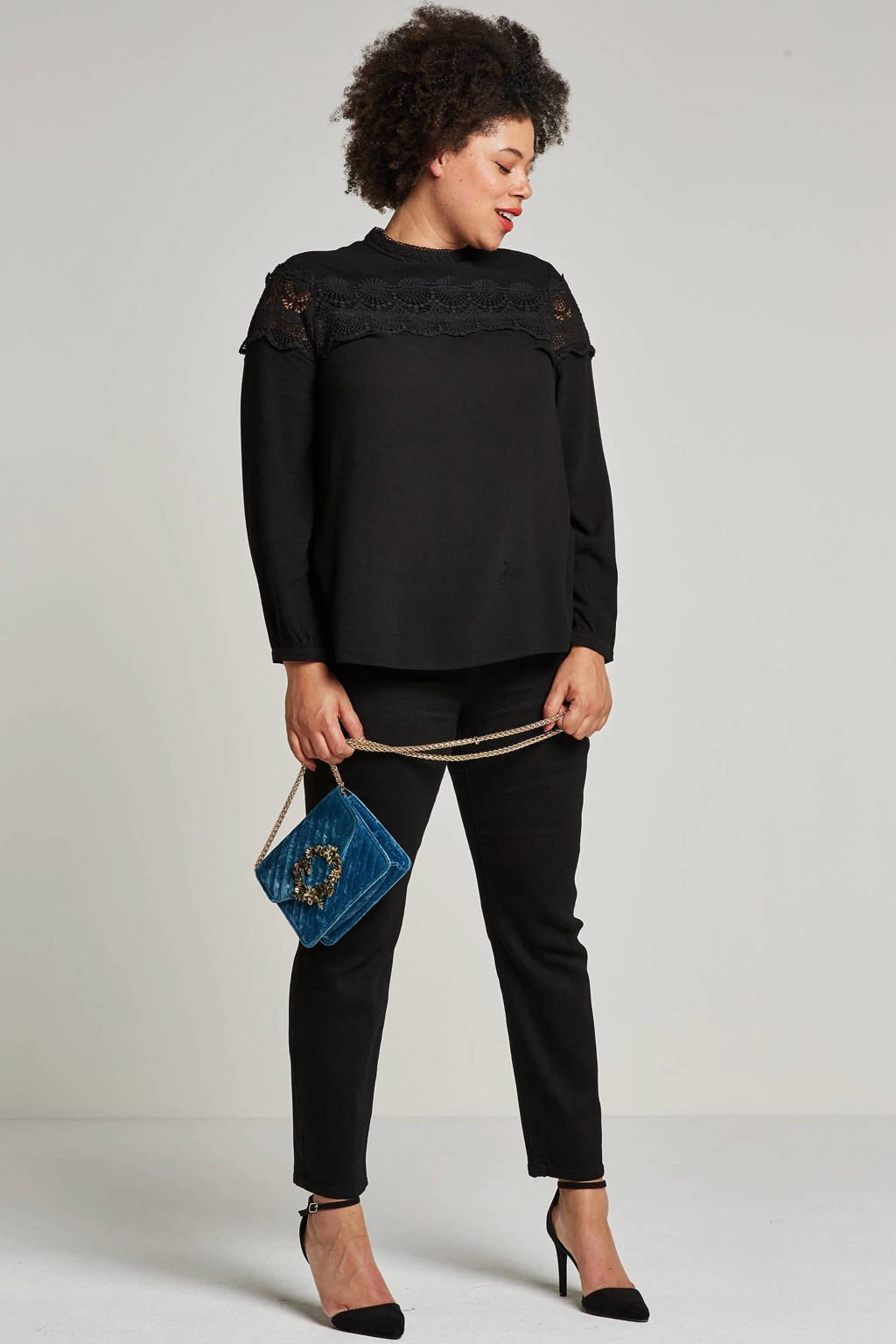 Lost Ink Plus 5-pocket jeans, Zwart
